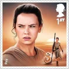 A Royal Mail stamp featuring Rey