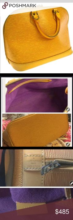 Vintage LV Alma PM Very fun. Purple interior. Good used condition. Has tarnished metal and zip a bit rough. A little oil do the trick. This girl has lots and lots of life left. Make offer TV higher louisVuitton Bags