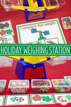 Fill small containers with holiday-themed materials & create a Christmas weight activity for your kids. This balance scale measurement activity includes LOTS of ideas for a fun, hands-on math or STEM center in your classroom. Easily adapt this activity to Christmas Math, Christmas Activities For Kids, Christmas Ideas, Winter Thema, Preschool Science, Preschool Winter, Theme Noel, Kindergarten Classroom, Lesson Plans