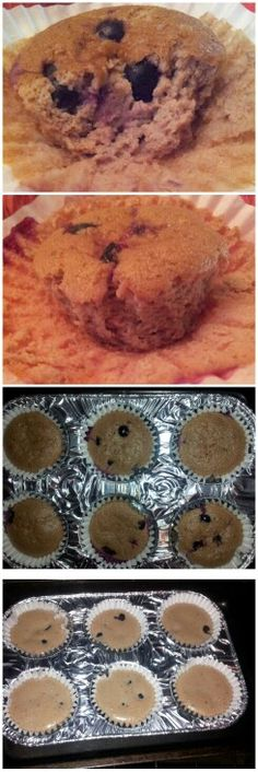 """I made Strawberry, banana, and blueberry muffins. :-)  Gluten and flour free. Use 2 eggs, 1 banana,  a few strawberries, just a tad of vanilla extract and mix in blender. Add blueberries right before putting them in the oven. This is inspired by the Blogilates recipe on YouTube """"100 % natural gluten and flour free pancakes""""."""
