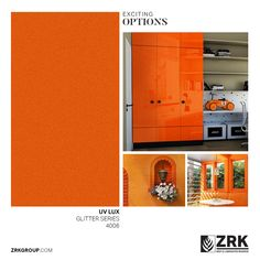 The colour orange is included in a space for improving creativity and gives a feeling of warmth. Orange Color, Colour, Collections Catalog, Orange Glitter, Laminated Mdf, Locker Storage, Creativity, Space, Home Decor