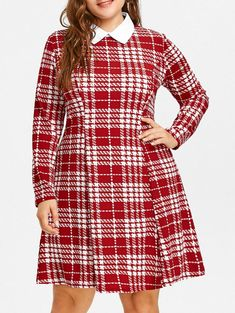 Plaid Flat Collar Plus Size Dress, WINE RED, 5XL/22------21.03