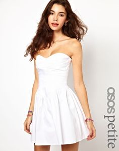 30f309e230ca ASOS PETITE Exclusive Strapless Skater Dress With Waist Detail at asos.com