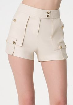 Shop bebe for: Bottoms - Soft Cargo Shorts - Upscale linen-blend cargo shorts finished with pleated pockets, a flawlessly topstitched shaped waistband and luxe goldtone buttons. Cool Outfits, Fashion Outfits, Womens Fashion, Cute Shorts, Skirt Pants, Preppy, Short Dresses, Pants For Women, Stylish