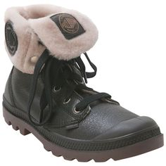Palladium Women's Baggy Leather S Black Fur-Lined Boot   Infinity Shoes