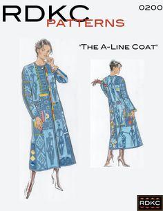 A-Line Coat Pattern from Rachel Clark Coat Pattern Sewing, Crochet Vest Pattern, Coat Patterns, Dress Sewing Patterns, Clothing Patterns, Paper Patterns, Art Clothing, Quilted Clothes, Sewing Clothes
