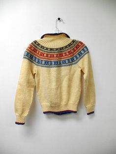Items similar to Vintage Handmade Norwegian Wool Sweater in Cream Red and Blue Size Small Button Down Husfliden Bergen Norway Virgin Wool Moth Proof on Etsy Norwegian Knitting, North Sea, Tapestry Weaving, Bergen, Wool Sweaters, Motifs, Aspen, Embroidery Patterns, Norway
