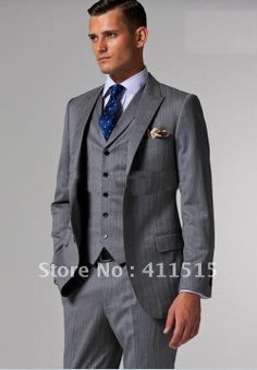 2013 Best Selling Accept Custom Made Suits Light Gray & Black Pinstripes Suits 3 Piece Men Suit Suits wear/party wearhand-made $142.85
