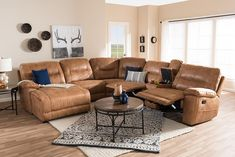 Wholesale Interiors Mistral Suede Sectional Sofa 99170J109LIGHTBROWNLFC Light Brown Palomino   Appliances Connection Brown Sectional, Sectional Sofa With Recliner, Reclining Sectional, Leather Sectional, Armless Chair, Corner Sectional, Couches, Sofas, Contemporary Recliners