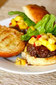 teriyaki burgers with mango pineapple salsa recipe. (so ready for summer cookouts!!)