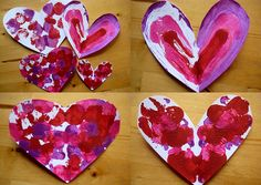 valentine craft symmetry art.                       Cut hearts out of white card stock. Fold in half so you only see one side of heart. Paint that side of heart with paint brush or finger tip. Fold heart together & gently press to spread paint inside. Open & see a magical symmetrical painting appear.
