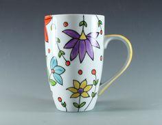 Handmade Pottery Mug, Spring Flowers, Hand painted, China Latte Mug, Ceramic Coffe Mug, Yellow Handle, SKU1412-1 by ateliermarla on Etsy https://www.etsy.com/listing/214146570/handmade-pottery-mug-spring-flowers-hand