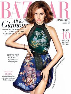 Camilla Belle for Harper's Bazaar Singapore April 2015 styled by Kenneth Goh in Gucci SS 2015 blue and green chinoserie print dress. More Great Looks Like This