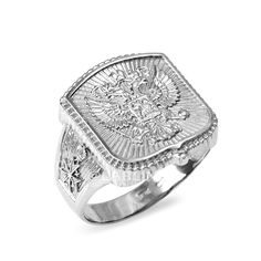 Polished Sterling Silver Russian Imperial Crest Double-headed Eagle Mens Orthodox Ring