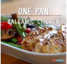 One Pan Balsamic Chicken 8 oz mushrooms 12 oz green beans 1 1/4 lbs chicken 1/4 c Italian dressing 2 tbsp honey 3 tbsp balsamic vinegar Sauté mushrooms, remove; cook chicken, remove; stir dressing, honey, vinegar together in same pan, add veggies & chicken, stir to coat. Pour extra sauce over chicken