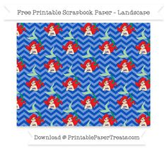 FreeSapphire Blue Chevron Large Ariel Pattern Paper - The Little Mermaid