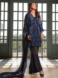 Pleasing black embroidery straight cut suit online which is crafted from chiffon fabric with exclusive embroidery. This stunning designer straight cut suit comes with raw silk bottom and chiffon dupatta. Latest Punjabi Suits, Women's A Line Dresses, Embroidery Designs Online, Salwar Suits Online, Lace Design, Straight Cut, Chiffon Fabric, Cold Shoulder Dress, Silk