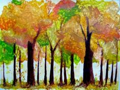 Melted crayon autumn trees