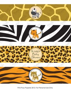 Items similar to Printable Safari Baby Shower Water Bottle Wrappers on Etsy Safari Party, Safari Jungle, Jungle Party, Safari Theme, Jungle Theme, Baby Shower Themes, Baby Shower Decorations, Shower Ideas, Baby Bottles