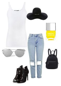 """""""T shirt and jeans type of girl with just a pop of color"""" by chynadoll125 on Polyvore featuring Vince, Topshop, Eugenia Kim and Nails Inc."""