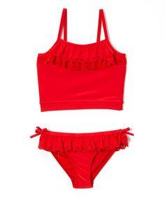 Loving this Red Ruffle Tankini - Girls on #zulily! #zulilyfinds