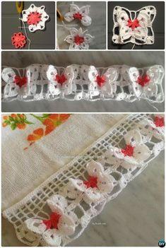 Butterfly Edging Border Free Pattern 20 Crochet Butterfly Free Patterns:Attach butterfly applique onto fashion, make butterflies as Mobile nursery or chandelier, or crochet butterfly rugs. Crochet Butterfly Free Pattern, Crochet Edging Patterns, Crochet Borders, Love Crochet, Crochet Motif, Crochet Flowers, Crochet Stitches, Knit Crochet, Crochet Edgings