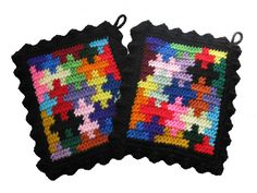 Puzzle Pot Holders Colorful jigsaw puzzle piece by hooknsaw