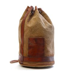 Italian Canvas with vegetable leather contrast -  Leather Hand polished with rope strings