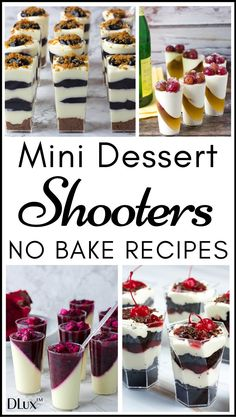Mini Dessert Shooters No Bake Recipes for PartiesYou can find Mini desserts and more on our website.Mini Dessert Shooters No Bake Recipes for Parties Mini Desserts, Shot Glass Desserts, Mini Dessert Recipes, Parfait Desserts, Individual Desserts, Small Desserts, Pudding Desserts, Holiday Desserts, Delicious Desserts