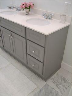 marble floor + gray vanity