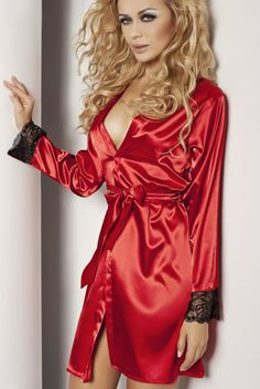 684e550c5b DKaren Red Satin Robe with Lace Trim Red Satin Robe with Lace Trim