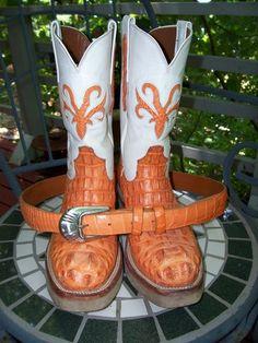 Woo-wee!!!  Genuine hornback alligator boots by Black Jack!!  Orange, baby!!!
