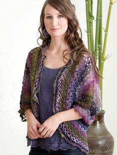 Dolman Sleeve Lacy Shrug featured in Fashions to Flaunt Crocheted With Noro Yarns by Jenny King. Go here to order: http://www.anniescatalog.com/detail.html?prod_id=91993