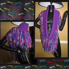 Fringe Infinity Scarf,Ultra Fringe,Bright Colored,Wrap, UNIQUE, one of a kind,UNISEX,Custom Made,Can be worn Many ways