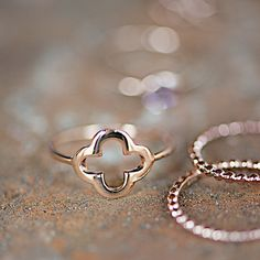 Rosé Gold Ring With Clover Cross delicate by lebenslustiger, $53.00