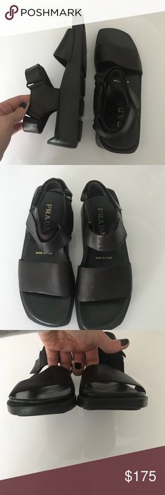 Prada sandals.  Never worn! Been in closet and just never worn.  No tags or box.  These are supposed to be super duper comfortable. Butter soft chocolate leather.  Just a great look Prada Shoes