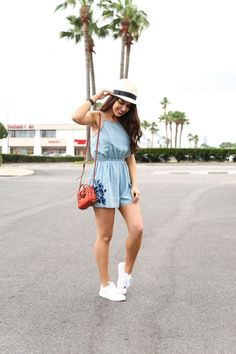 Casual Meets Classic with Coach Spring 2017 Bag Collection  Target Style. Denim Romper. Denim Embroidered Romper. Street Style. Casual Style. Weekend Style. Street Wear. Classic Outfit. Affordable Fashion. Houston Blogger Naomi Trevino