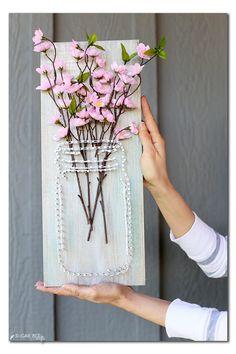 Mason Jar String Art - Sugar Bee Crafts
