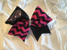 Breast Cancer Awareness - Pink and Black Chevron Cheer Bow by BrendasCheerBows on Etsy