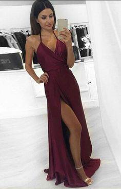 Long Prom Dress, Sexy Backless Party Dress, Evening Dress, Slit Prom Dress, Burgundy Formal Dress for Teens