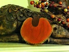 Set of 3 Handpainted Pumpkin Wood Slices by VickiAnnCreations, $9.00