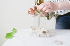 Update your vintage lucite table lamp from @etsy with clusters of smoky quartz and a new blush pink lampshade. All the materials for this easy DIY are available on the new @etsystudio plus get this craft tutorial on etsystudio.com #keepmaking #etsystudio #ad