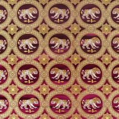 9th century, Byzantine Brocade with Lions, Purple