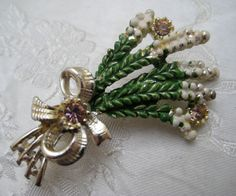 Vintage 1950s EXQUISITE Good Luck Heather Brooch by FortheLoveofKitsch on Etsy