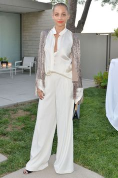 Who: Nicole Richie What: Wide Leg White Trousers Why: The designer and LA girl hit the Rachel Zoe x Net-a-Porter dinner last night in airy wide leg trousers for a fresh take on summer evening wear. Get the look now: Rachel Zoe pants, $242, rachelzoe.com.