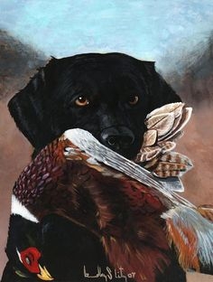 Black Labrador With Pheasant Painting by Bradley Litz - Black Labrador With Pheasant Fine Art Prints and Posters for Sale