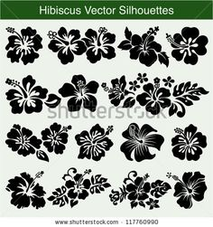 Hibiscus silhouettes vector set by ZiaMary, via ShutterStock