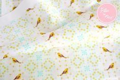 【Ellie&M's fabric】コットン生地 ガーデンミントバード