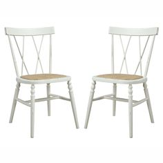 The angelo:HOME Citybrook armless dining chair set was designed by Angelo Surmelis. The Citybrook chairs feature a crisscross back design with an antique creme white distressed finish and a woven cane seat.