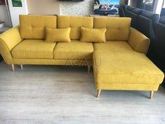 Coltar extensibil Candy, design scandinav, 254x165x86 cm, galben - Acaju.ro Sofa, Couch, New Homes, Living Room, Interior, Modern, Candy, Furniture, Design